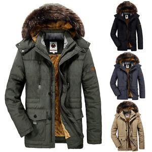 3c93303ab22 Men s Winter Warm Faux Fur Lined Coat with Detachable Hood Outdoor ...