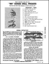 Walker Turner 900 Series Drill Press Manual Dp93