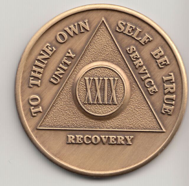 29 Years - XXIX Years - Alcoholics Anonymous recovery medal token chip coin