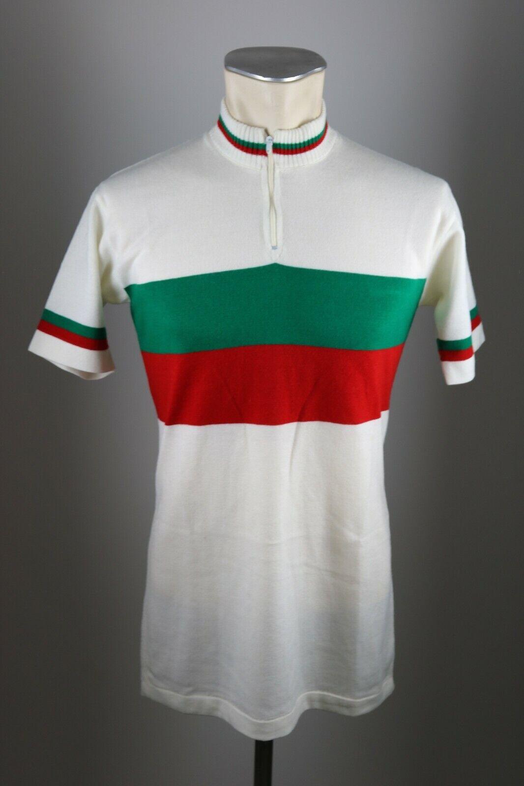 70s   80s vintage Radfahren Rad Trikot weiß Gr. M 50cm BW Fahrrad jersey Acrylic AQ4