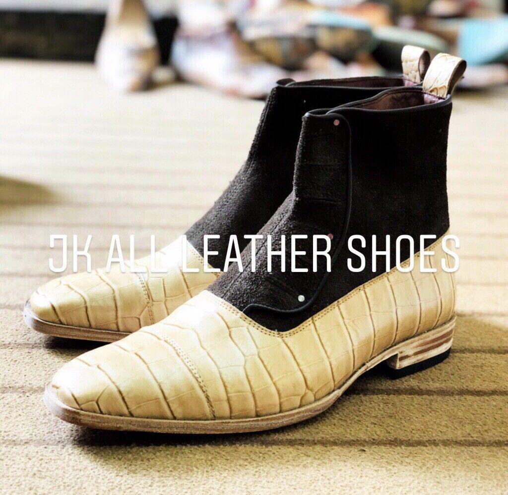 EsES botas de hombre hechas a mano de cuero marrón y de cocodrilo con botones
