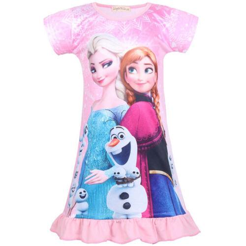 Kids Girls Frozen Anna Elsa Dress Pajama Nightdress Short Sleeve Long T-Shirt