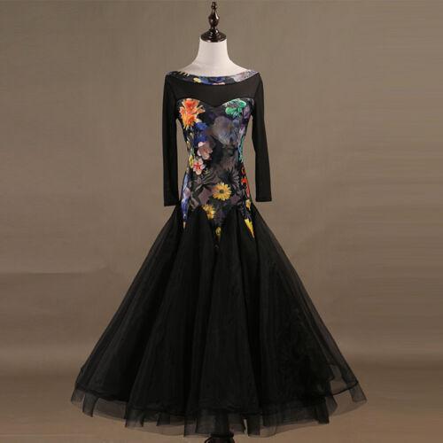 NEW Latin Ballroom Dance Dress Modern Salsa Waltz Standard Long Dress#F351