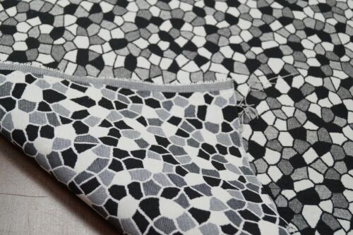 B/&W Mosaic Tiles Luxury Tapestry Fabric Curtain Upholstery Sofa Cushion Material