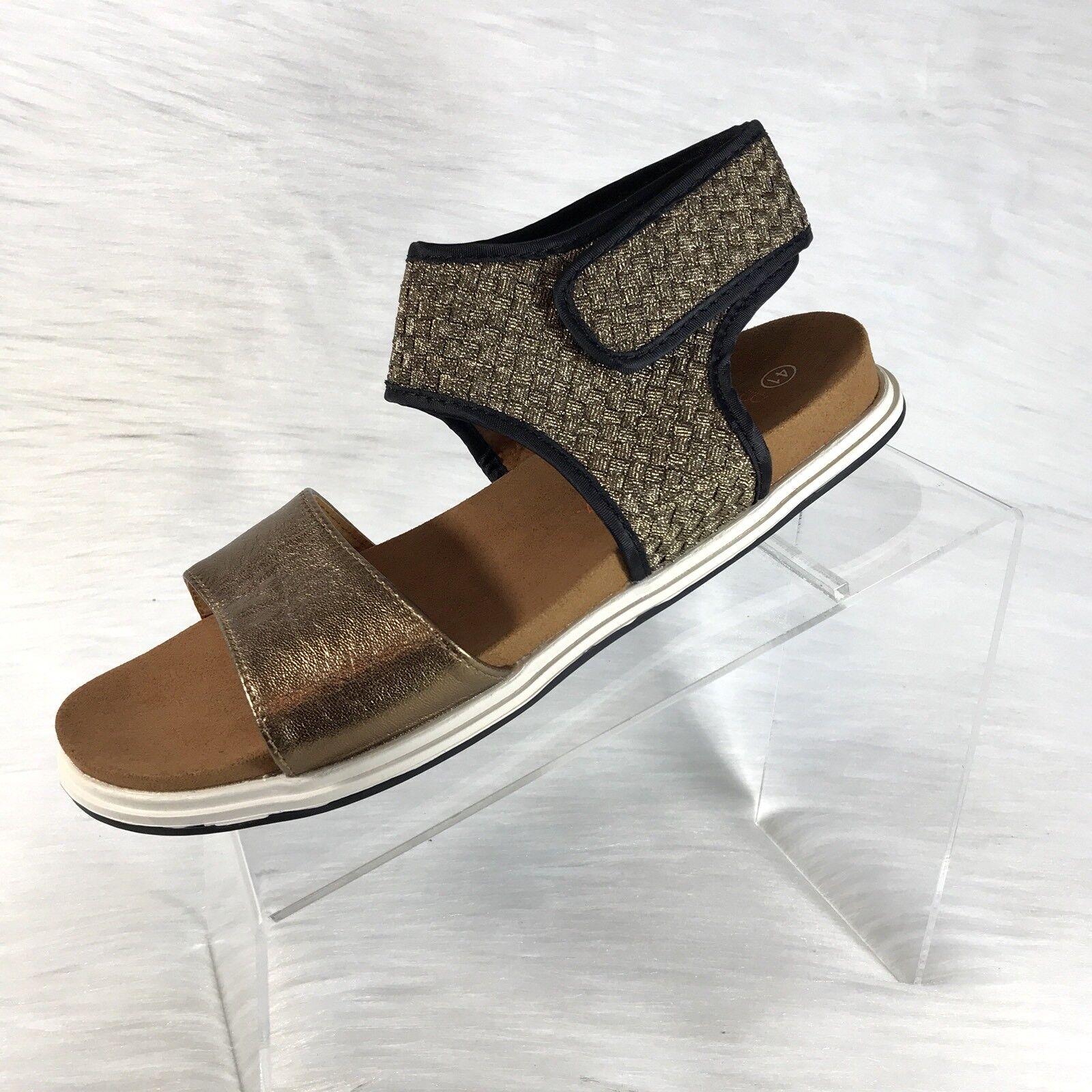 New Bernie Mev Women's Bebe Slingback Sandals Bronze Weaved Size 41 US 10.5
