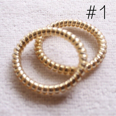 10 Pcs Gold/Silver Women Elastic Rubber Hair Ties Band Ropes Ponytail Holder