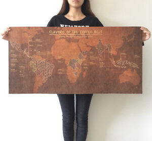 Flavors of the coffee belt world map huge large vintage style retro image is loading flavors of the coffee belt world map huge gumiabroncs Gallery