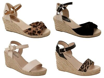 Women/'s Ladies Buckle Slip On Platform Espadrilles Shoes Wedge Sandals Size 3-8