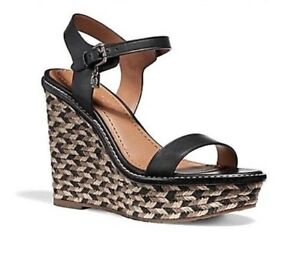 87bc99da854 Details about $275 Coach Womens High Espadrille Wedge Sandal Shoes Black 7  NEW IN BOX
