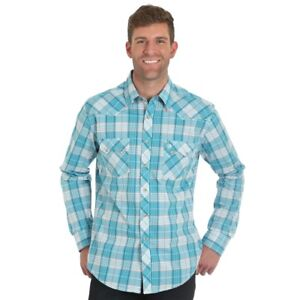 Wrangler-Men-039-s-Retro-Turquoise-amp-Red-Plaid-Snap-Up-Western-Shirt-MVR380M