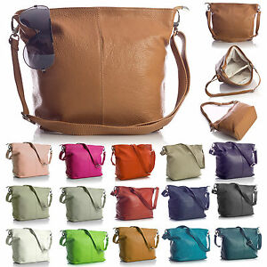 New-Genuine-Italian-Leather-Womens-Hobo-Slouch-Medium-Size-Shoulder-Handbag