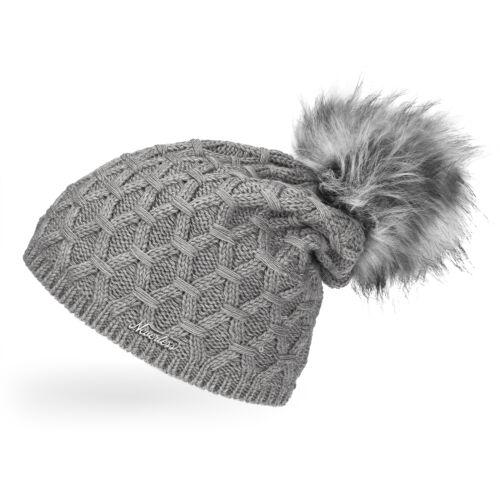 Damen Strickmütze gefüttert Fell-Bommel Strick-Beanie Winter-Mütze Bommelmütze