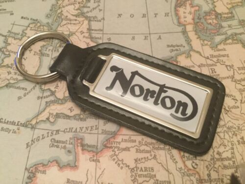 NORTON MOTOR BIKE CYCLE  Quality Black Real Leather Keyring  OBLONG