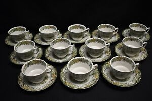 Ridgway-Heritage-Set-of-12-Cups-amp-Saucers-Green-Multicolor-Village-Of-Cedars