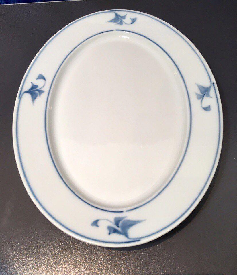 Royal Copenhagen Noblesse bleu & blanc Oval Dish cm 32 - 112 -15105 - nouveau -