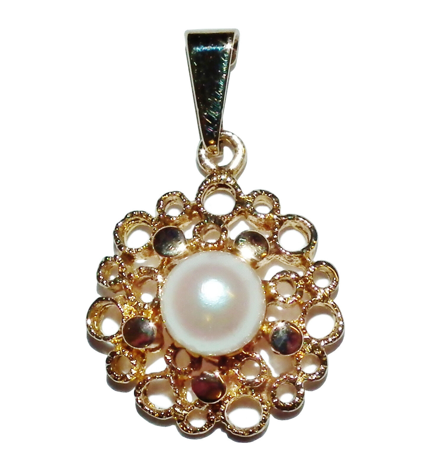 Fully Hallmarked 9ct Yellow gold & Freshwater Pearl Fancy Pendant