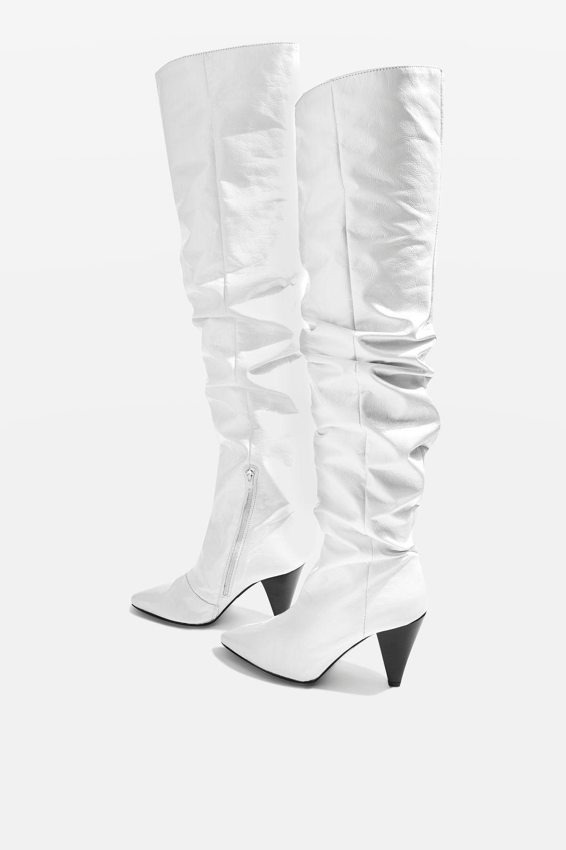 Topshop High Leg Patent Stiefel WEISS/Silver Größe 5/38US7.5   4/37US6.5
