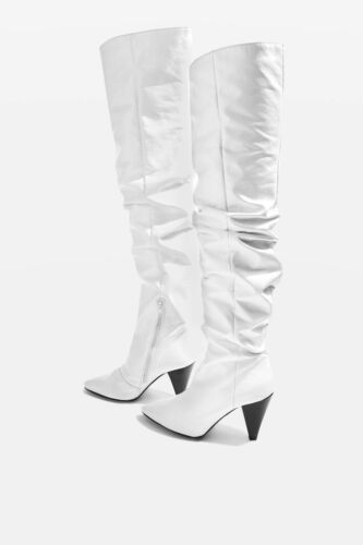 5 Patent Size 6 £99 39us9 Topshop Boots High Leg White silver 00 Silver Rrp HqazaTpn