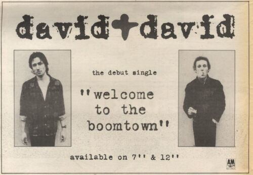15//11//86PN50 ADVERT DAVID /& DAVID THE DEBUT WELCOME TO THE BOOMTOWN 7X11