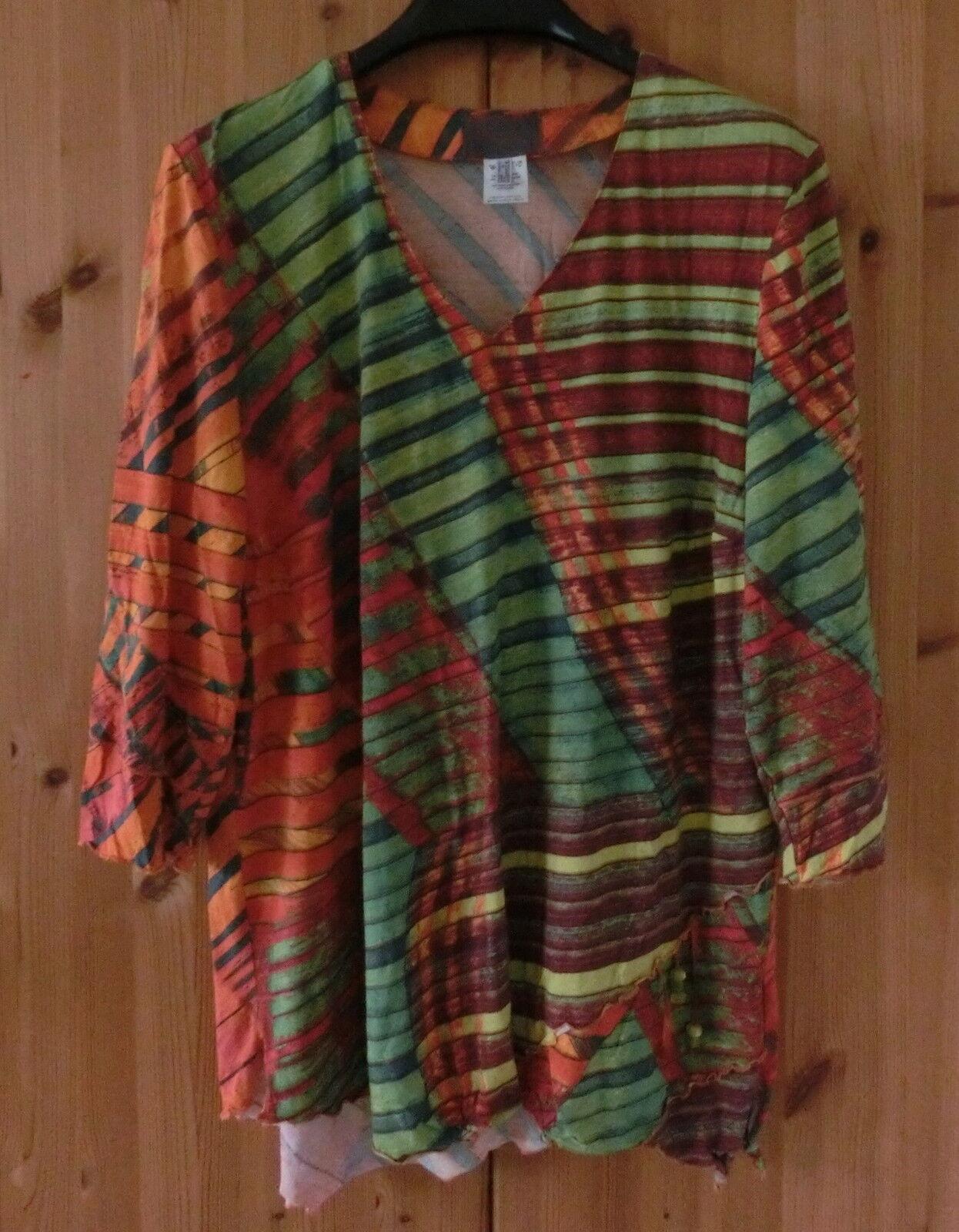 Sempre PIU by Chalou tg. 46 Arancione verde asimertisch asimertisch asimertisch Tunica Maglietta Camicia fd4c1a
