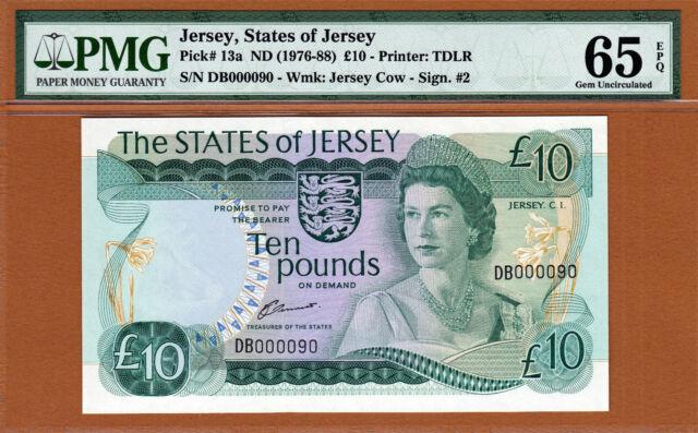 Jersey 10 Pounds 1976-88 QEII P-13a LOW Serial 000090 GEM UNC PMG 65 EPQ