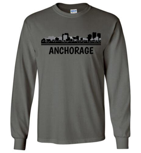 Ak T Dames Jeugdtank Skyline Tee shirtHeren Anchorage Lange Gepersonaliseerd mouw E2eHYD9WI