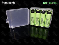 4 Panasonic Ncr18650b 3400mah / 4.8a Flat Top Rechargeable Battery / Clear Case