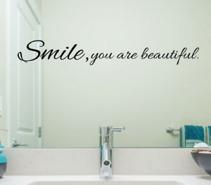 Details About Smile You Are Beautiful Wall Sticker Home Quotes Inspirational Love Ms092vc