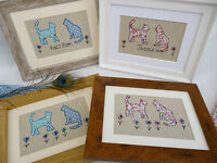 Handmade Cats Framed Picture choice of colour, frame & personalisation, Floral