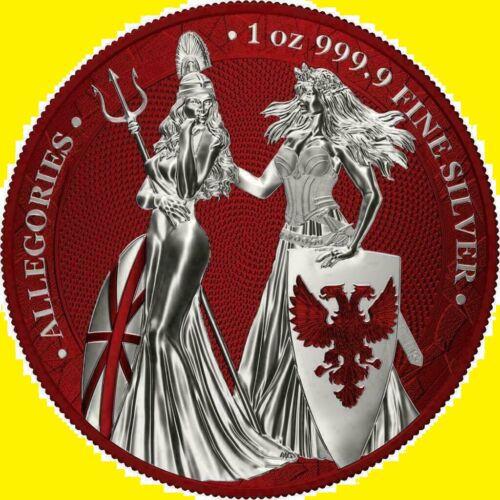 Germania 2019 5 Mark Germania Britannia Color RED 1 oz Silver 500 LIMITED