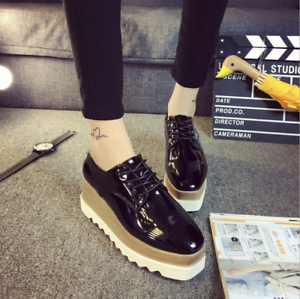 Womens-Wedge-Heels-Sneakers-Brogue-Lace-Up-Platform-Creepers-Shoes-Oxfords