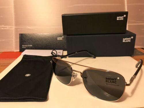 Sunglasses MB597S 16A New Mont Blanc Shiny Palladium // Smoke Lens 57mm