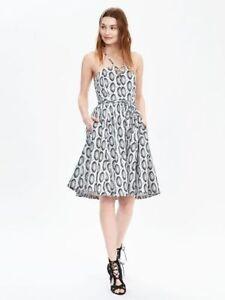 BANANA-REPUBLIC-Heritage-Print-Lace-Up-Dress-6-S-SMALL-Black-Ivory