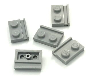 Lego 5 New White Plates Modified 1 x 2 with Door Rail Pieces