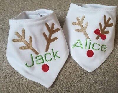My 1st Christmas Reindeer Embroidered Baby Bandana Dribble Bib Gift Personalised