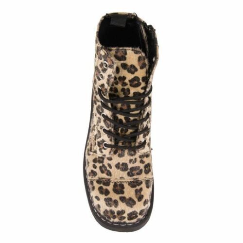 k T2181 T Punk Print Faux Boots Tuk Leopard Zip Alternative Anarchic Goth u Hair qrtFY5r