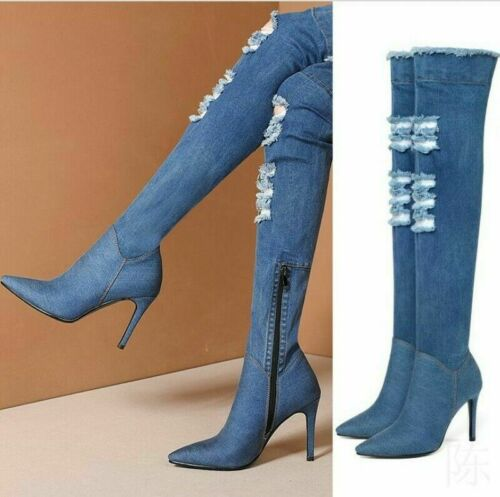 Alexia 7 Womens Distressed Ripped Denim Pointy Toe Thigh High Boots