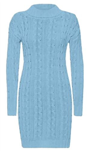Ladies Chunky Cable Knitted Polo Neck Midi Jumper Women Long Sleeve Party Dress