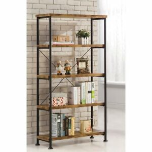Image Is Loading Vintage Industrial Modern Rustic Bookcase Office Bookshelf Living