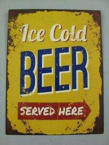Tin Sign, Advertisement Sign Ice Cold Beer Served Here Pubs Wall Sign 33x25 CM