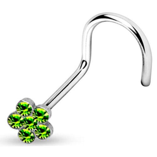 1PC Titanium Surgical Steel Gem Crystal Nose Stud Bone Body Piercing Ring Gift