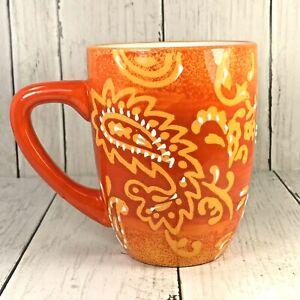 LAURIE-GATES-Paisley-Print-Embossed-Design-Coffee-Mug-ORANGE-Replacement-3D