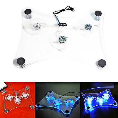 "New 15"" USB 3 Fan Blue LED Light Laptop PC Notebook Air Cooling Cooler Pad Stand"