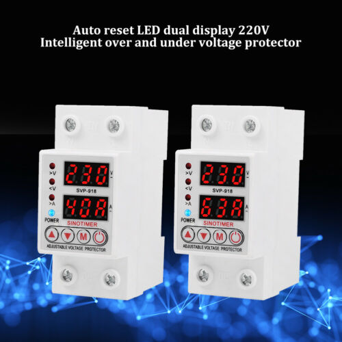 220V 63A 40A SVP-918 Adjustable Self-recovery Over Under Voltage Circuit Protect