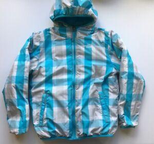 23950d521 Details about The North Face Puffer Coat Down 550 Girl Size L 14/16  Reversible Aqua Blue Plaid