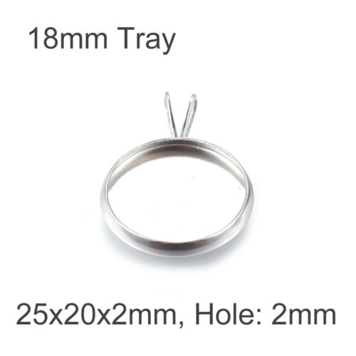 304 Stainless Steel Cameo Pendant Setting Bezels DIY Epoxy Resin Tray Charms