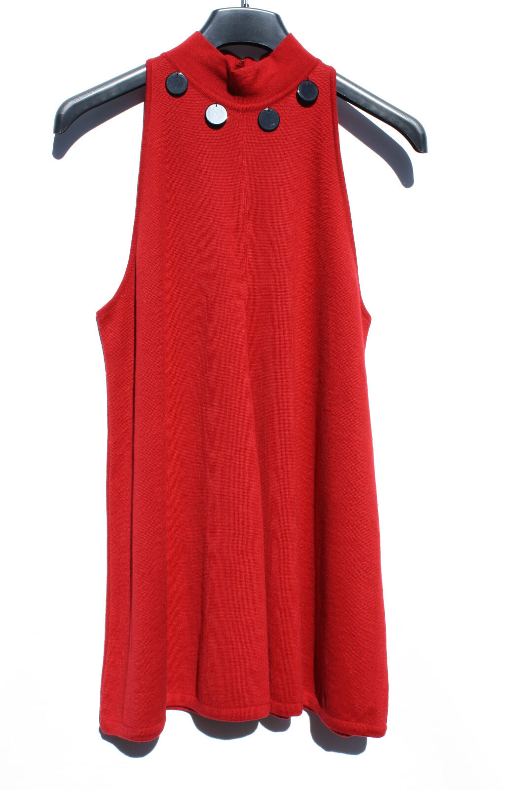 VINTAGE NWT RoccoBarocco Knitwear RED Dress 100% Merino  Sleevelees US 10