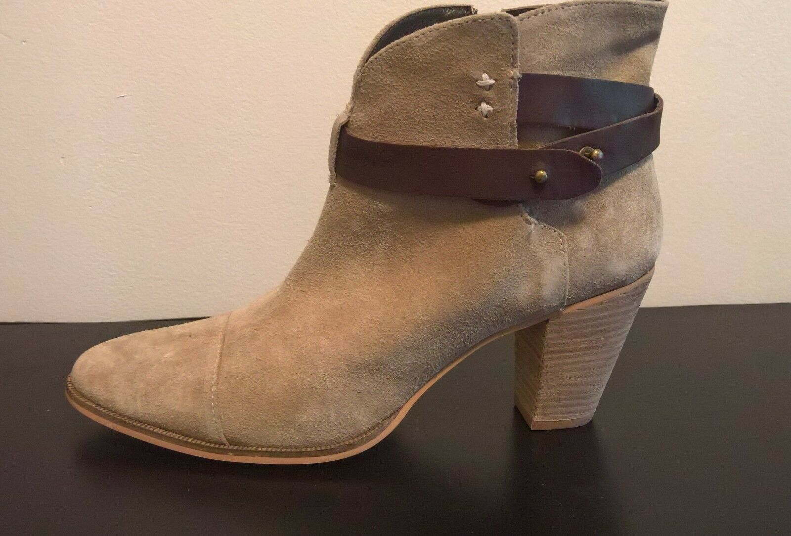 Warehouse Shoes N More Taupe Suede Leather Straps Ankle boots with Strap size 42