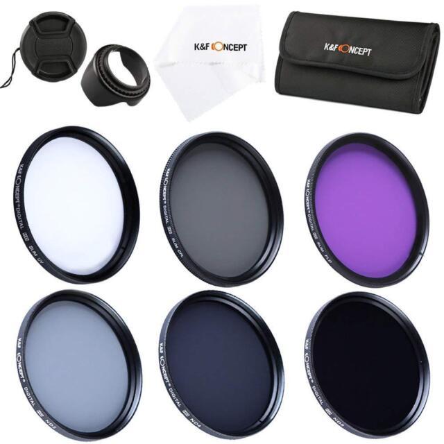 K&F Concept 49 mm UV circulaire polarisant FLD ND2 ND4 ND8 Slim Lens Filtre Kit Accessoire pour Canon