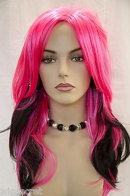 Hot Pink / Black Fun Color Long Straight Fun Color Costume Wigs